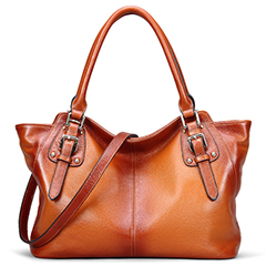 Buckles Two-tone Color Leather Shoulder Bag LH1842