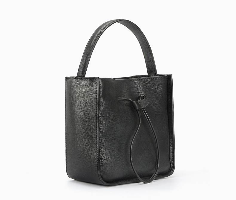 Drawstring Leather Barrel Bag Leather Tote LH1851