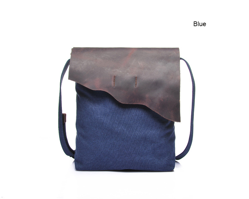 Flap Over Canvas & Leather Cross Body Bag LH1876_4 Colors