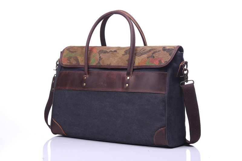 Flap Over Canvas & Leather Satchel Bag LH1877_3 Colors