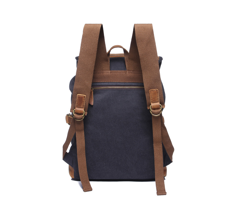 Pockets Canvas & Leather Backpack LH1878_4 Colors