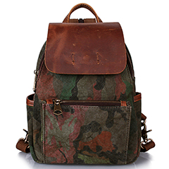 Battle Fatigues Canvas & Leather Backpack LH1886_4 Colors