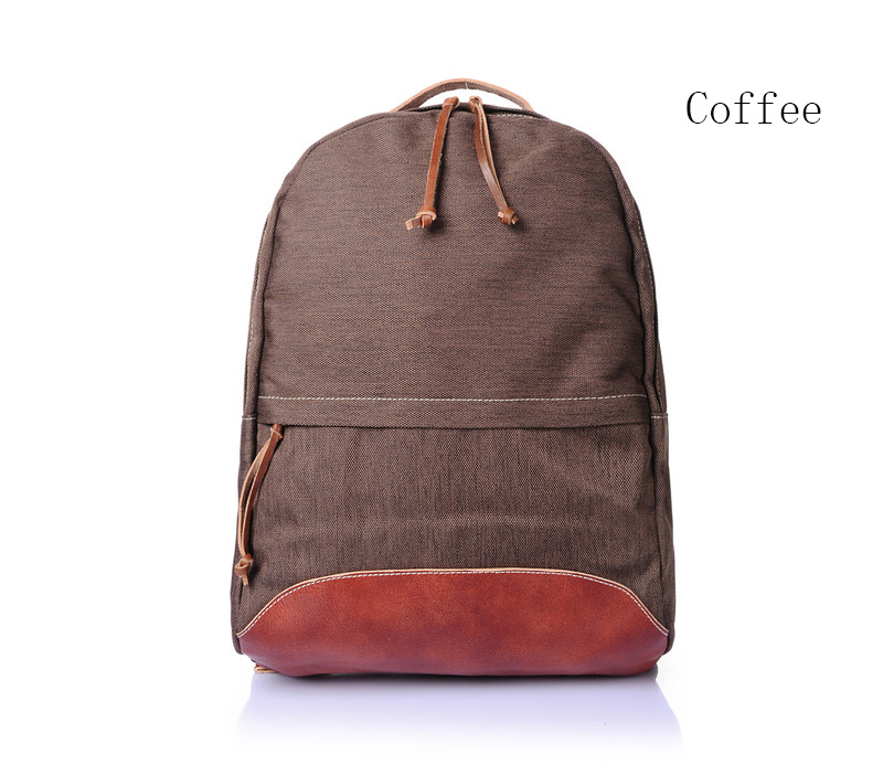 Front Pocket Canvas & Leather Backpack LH1894_3 Colors
