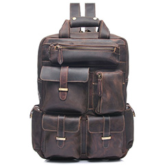 Pockets Real Leather Backpack LH1908