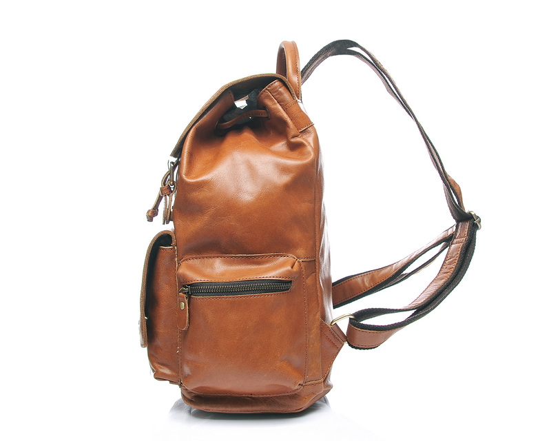 Pockets Drawstring Real Leather Backpack LH1910