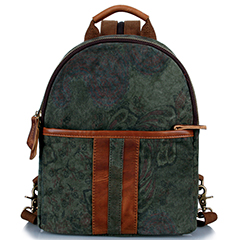 Floral Print Canvas & Leather Backpack LH1885_3 Colors