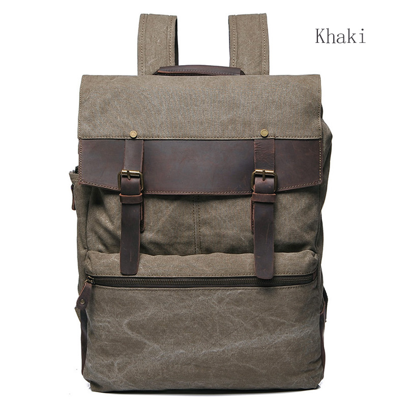 Water Canvas & Leather Backpack LH1952_4 Colors