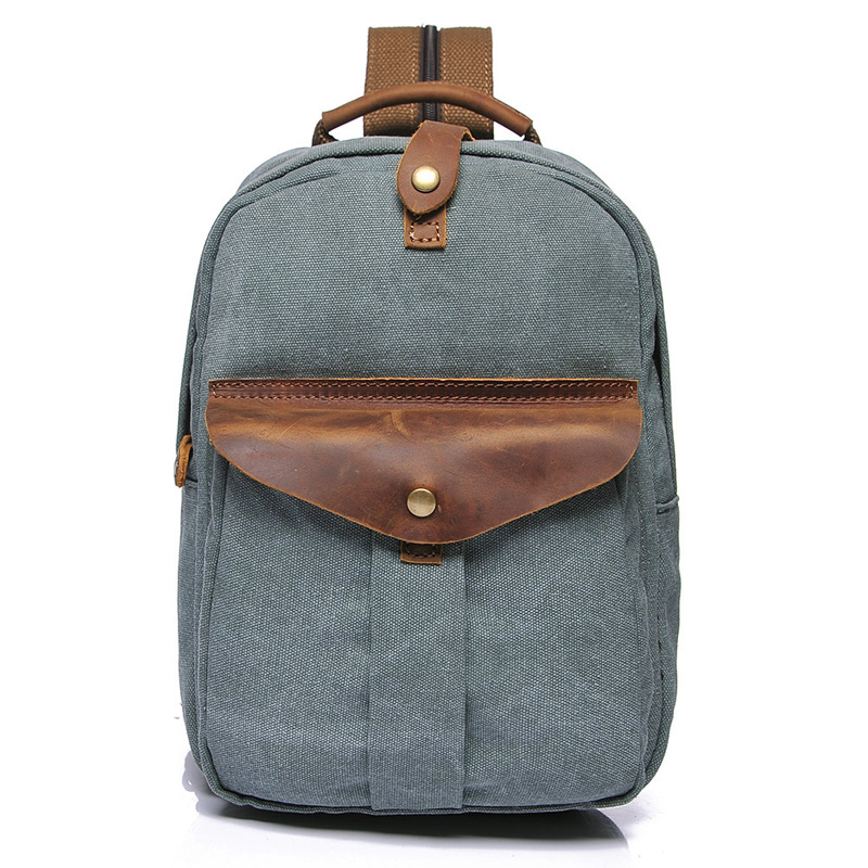 Water Canvas & Leather Backpack LH1955_4 Colors