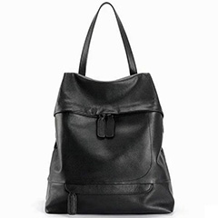 Black Casual Genuine Leather Backpack LH2006