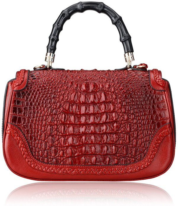 Crocodile Pattern Bamboo Handle Bag LH2017L_2 Colors