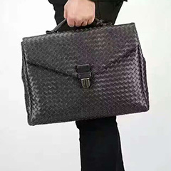 Woven Sheepskin Real Leather Briefcase LH2029