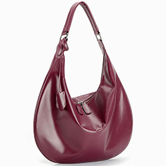 Purple Classic Supple Genuine Leather Hobo LH2007