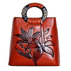 Lily Pattern Genuine Leather Tote LH2066A