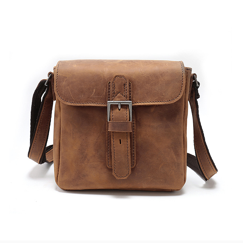 Push Lock Genuine Leather Messenger Bag LH2147