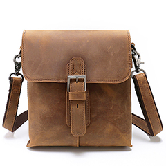 Push Lock Genuine Leather Messenger Bag LH2148