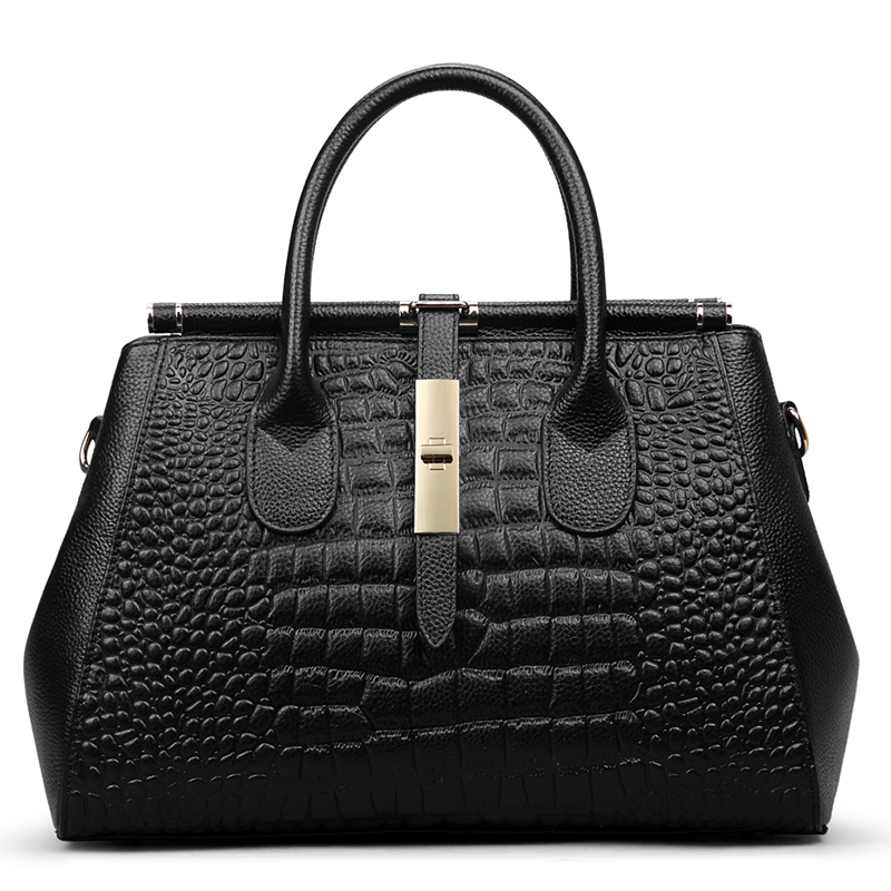Crocodile Pattern Real Leather Handbag LH2162_3 Colors