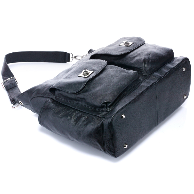 Black Soft Italian Leather Diaper Bag Mummy Bag LH2169