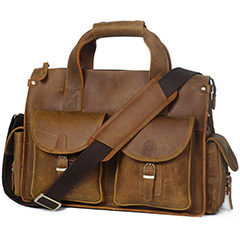 Gritty Rustic leather Briefcase Messenger Bag LH2179_4 Colors