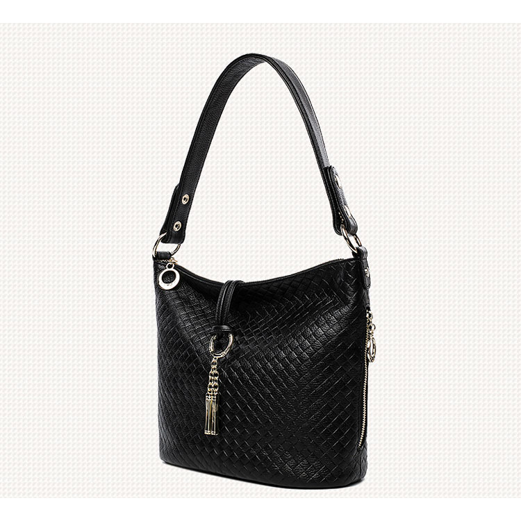Checked Embossed Genuine Leather Hobo LH2202
