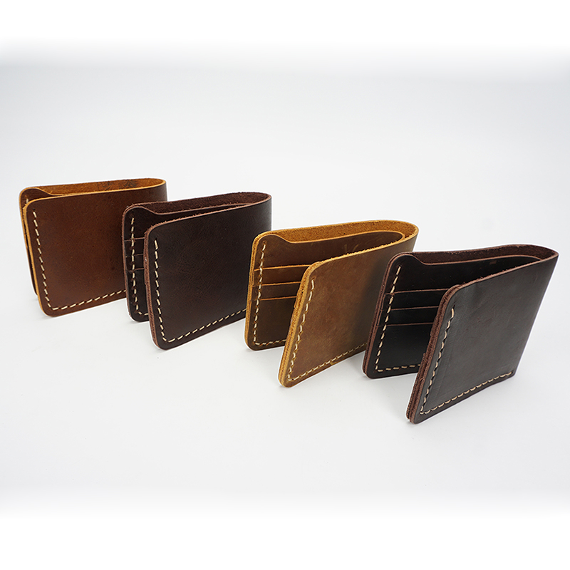 Bi-fold Crazy Horse Pull Up Leather Wallet LH2215_4 Colors