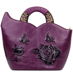 Floral Pattern Real Leather Tote Handbag LH2316_2 Colors
