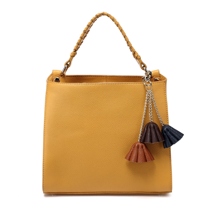 Yellow Flower Cow Leather Tote Bag LH2322