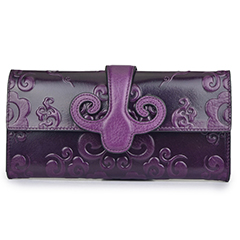 Purple Bi-fold Genuine Leather Wallet LH2311A