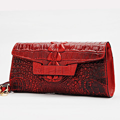 Classic Crocodile Embossed Real Leather Clutch LH2455_3 Colors