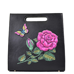 Black Floral Embossed Pattern Leather Tote Bag LH2448