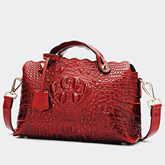 Raised Grain Crocodile Embossed Real Leather Purse Bag LH2457_4 Colors