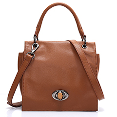 Flap Over Turn-lock Real Leather Tote Cross Body Bag LH2444_3 Colors