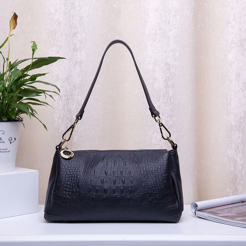 3-Sections Crocodile Print Real Leather Shoulder Bag LH2464_4 Colors
