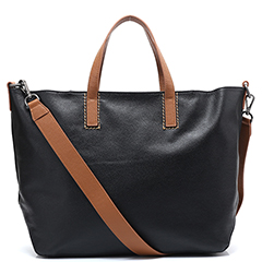 Black Large Capacity Leather Tote LH2502
