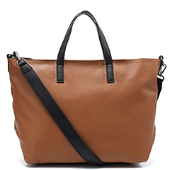 Brown Large Capacity Leather Tote LH2502