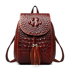 Tassels Crocodile Embossed Real Leather Backpack LH2512_3 Colors