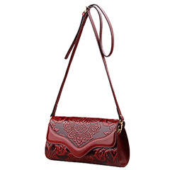 Floral Pattern Real Leather Purse LH2520_2 Colors