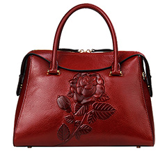 Rose Pattern Top Zipper Real Leather Tote LH2524_2 Colors