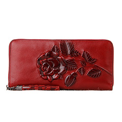 Rose Pattern Zipper Around Real Leather Purse LH2523_2 Colors