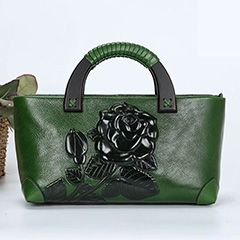 Gorgeous Floral Embossed Leather Tote LH2534_5 Colors