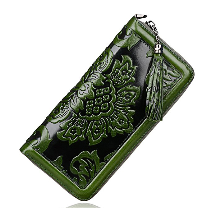 Floral Pattern Genuine Leather Purse LH2025_3 Colors