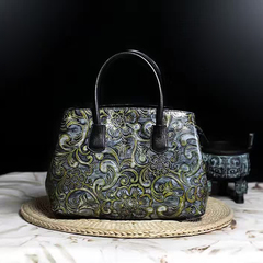 Floral Pattern Real Leather Tote Handbag LH2264A_3 Colors