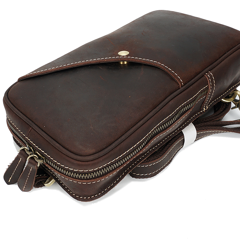 Vertical Genuine Distress Leather Chest Bag LH2292