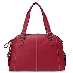 Red Functional Genuine Leather Shoulder Bag LH2486