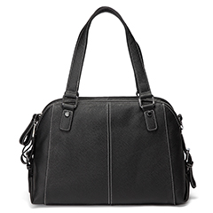 Black Functional Genuine Leather Shoulder Bag LH2486