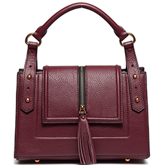 Plum Tassels Flap Over Leather Tote Satchel Bag LH2538