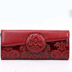Flap over Floral Embossed Leather Clutch LH2554_5 Colors