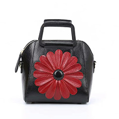 Floral Pattern Real Leather Satchel Bag LH2560B_4 Colors