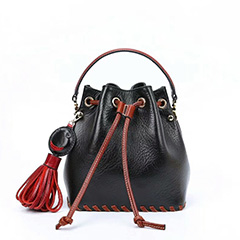 Drawstring Real Leather Barrel Bag Crossbody LH2561_5 Colors