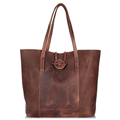 Distressed Leather Shopper Organized Bag LH2173