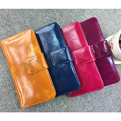 Long Bifold Distress Leather Wallet LH1086_9 Colors